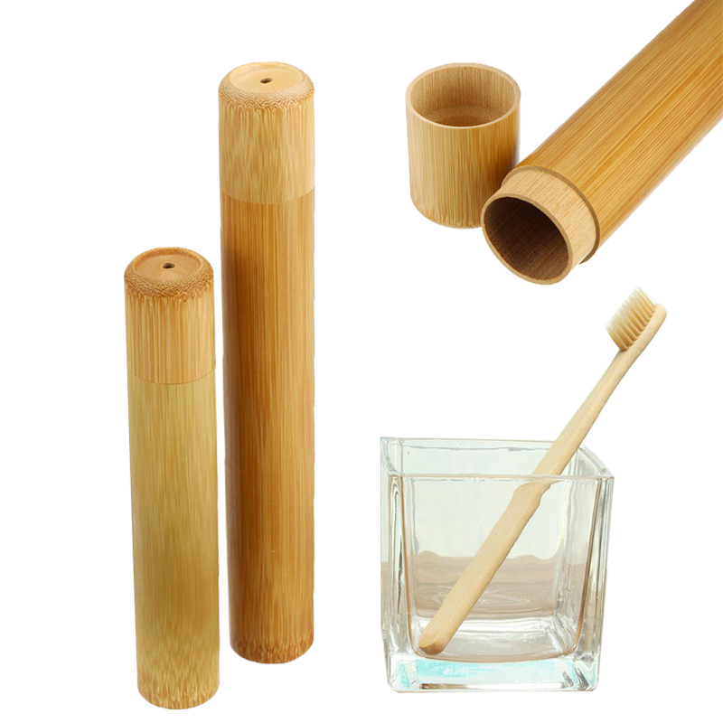 Wooden Bamboo Toothbrush With Holder Teeth Brush Soft-bristle Bamboo Fibre Tube Charcoal Tooth Brush Box Set Oral Care image