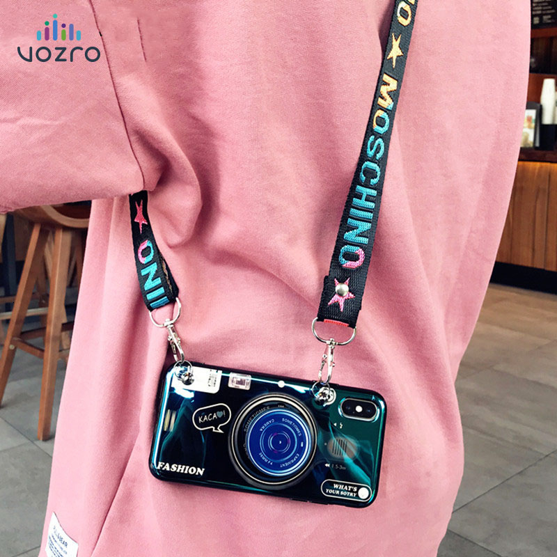 3D Retro Camera Luxury Lanyard Case For iphone 11 Pro Max X XR XS MAX 6S 7 8 Plus for Samsung S8 S9 S10 Plus Note 8 9 10 Plus image