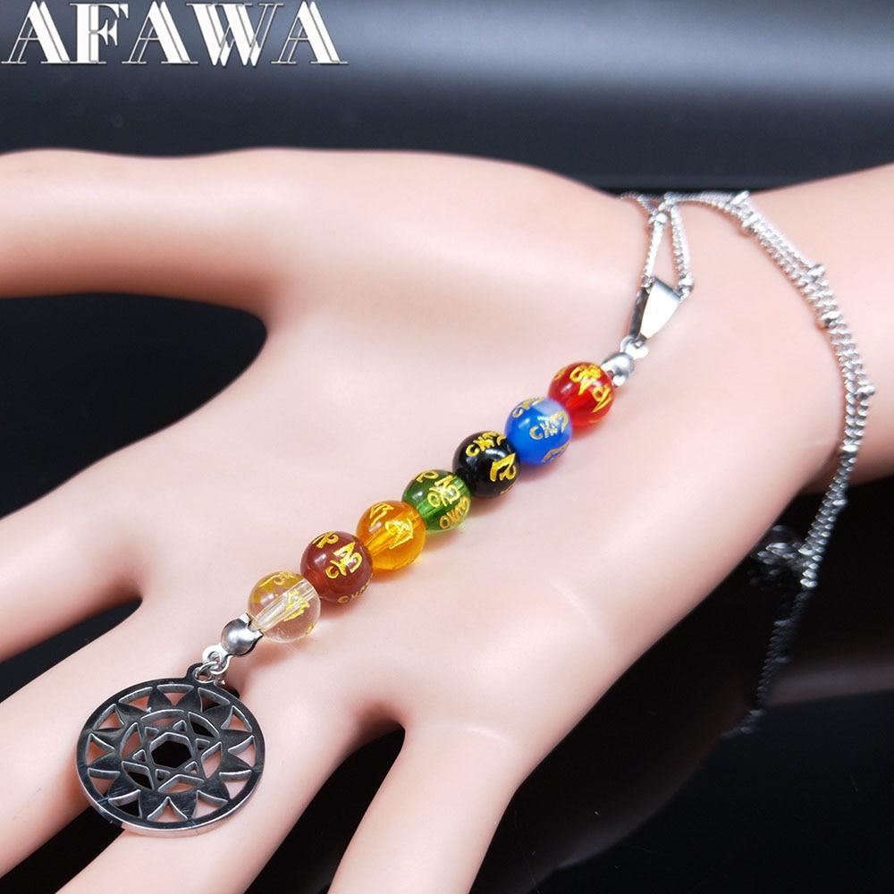 2021 7 couleur Chakra acier inoxydable chaîne collier pour femmes couleur argent sculpture bouddhiste perles colliers bijoux chaine N20276