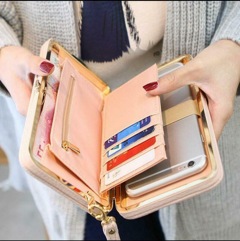 AU Women Lady Long Travel Wallet Zip Purse Card Phone Holder Case Clutch Handbag Faux Leather Bow-knot Clutch Wallet