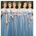 Серо-синий пол-средний-Длина кружевные туфли на высоком или круглым вырезом длина рукава вечернее платье подружки невесты юбка Sisters DressBirthday ...