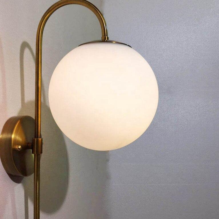 Métal grand verre abat-jour e27 ampoule chevet personnalisé antique applique murale lumières applique murale led décor industriel