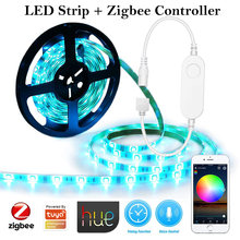 Smart Zigbee LED Strip 5M DC12V RGB CCT RGBCW Controller Light Works Smartthings Zigbee 3.0 Hue Alexa Echo Plus Google Assistant