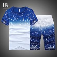 Letnie męskie zestawy z krótkimi spodenkami garnitury casualowe odzież sportowa męskie ubrania męskie dwa kawałki modny nadruk męskie bluzy męskie marki