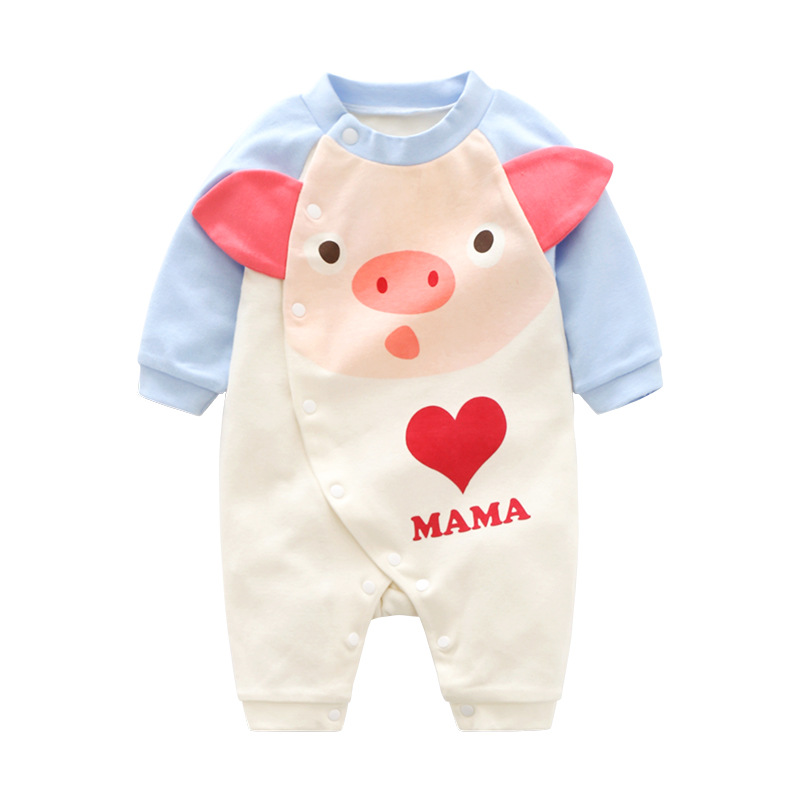 2019 Spring And Autumn Blue Piggy Long Sleeve Men And Treasure Baby Onesie Closed Crotch Snap Closure Newborns Clothes