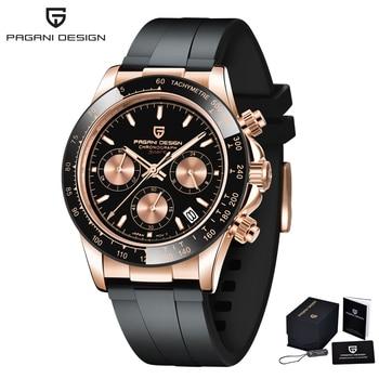 2020 New PAGANI DESIGN Mens Quartz Watches Automatic Date Luxury Gold Wristwatch Men Waterproof Chronograph Japan VK63 Clock man - Gold-Black, Poland
