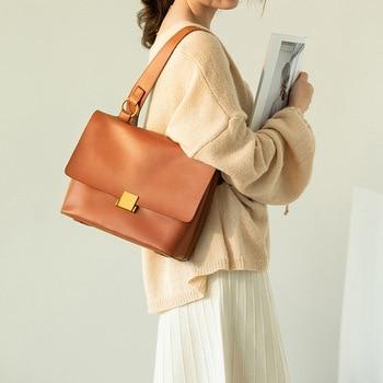 Women's Bag 2019 New Leather Lady Handbag One-shoulder Slash Bag Vintage Underarm Bag Large Capacity