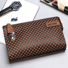 Yetties Business Casual Plaid Handbag Genuine Leather Men 's Clutch Bag Soft Leather Simple Retro Phone Bag Summer Mini Bag
