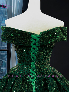 Image 4 - Waulizane Strapless Ball Gown Quinceanera Dress Of Sequin Lace Dark Green Quinceanera Gown