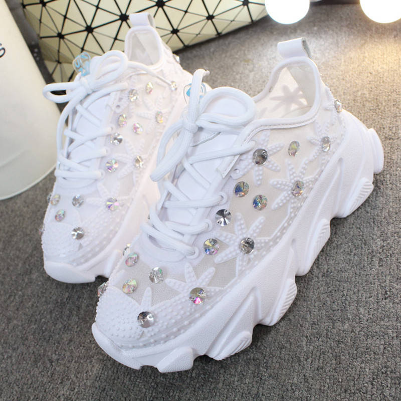 Rhinestone Wedge Sneakers Women Trainers Dames Chunky Sneaker Platform 2020 White Sneaker Casual Shoes Woman Chaussures Femme