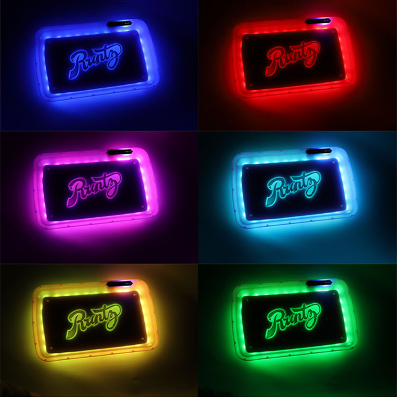 1Pc led Rolling Tray Weed Tray tobacco Voice Control Tray with upgraded Right Button bong weed gadgets for men technology 6