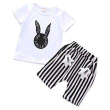 Summer Cute Rabbit Short Sleeve 2PCS Print White T-shirt+Striped Shorts Baby Boy Suit  Newborn & Child Clothing Set 6M-5T