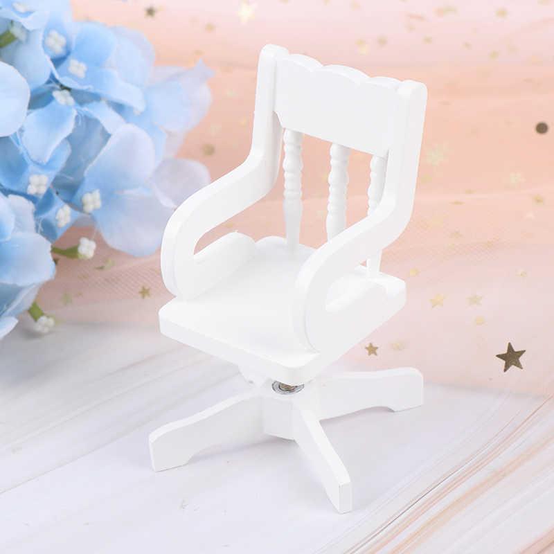 1:12 Rumah Boneka Miniatur Furniture Kayu Putih Kursi Putar Tali Rami Kursi untuk Boneka Rumah Aksesoris Dekorasi Mainan