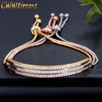 CWWZircons Adjustable Bracelet Bangle for Women Captivate Bar Slider Brilliant CZ Rose Gold Color Jewelry Pulseira Feminia CB089