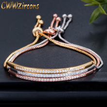 Женский регулируемый браслет на запястье CWWZircons, под розовое золото с фианитами и очаровательным бегунком, CB089