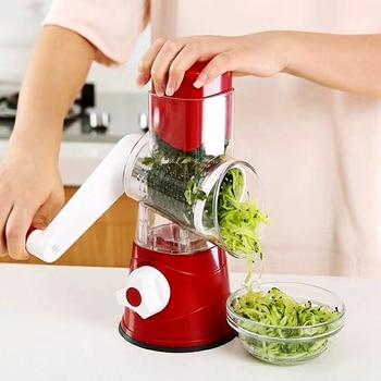 Vegetable Slicer Manual Kitchen Accessories Vegetable Chopper 3 in 1 Round Grater Cutter Potato Spiralizer Home Gadget Tool Item 6