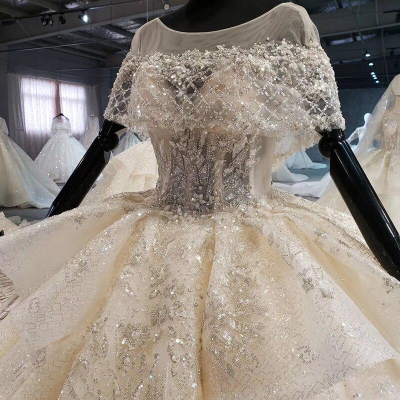 Image 4 - HTL1056 キラキラウェディングドレス 2020 イリュージョン o ネックビーズ小岬レースのウェディングドレスプラスサイズのレースアップバック vestido デ casamentoウェディングドレス   -