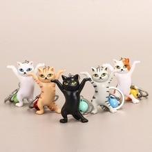 Cat Keychain Keyring Women Dancing Funny-Design Girls Ornament Bag Pendant Birthday-Gift