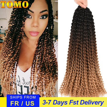 TOMO Passion Twist Crochet Hair Synthetic Braiding Hair Extensions 14 18 22Inch 22Strands Spring Twist 80g/Pack Long Black Brown 1