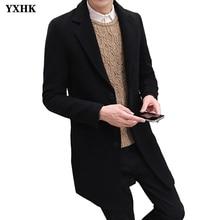 New Brand Winter Woolen Coat Men Leisure Long Sections Woolen Coats Mens Pure Color Casual Fashion Jackets  Casual Men Overcoat