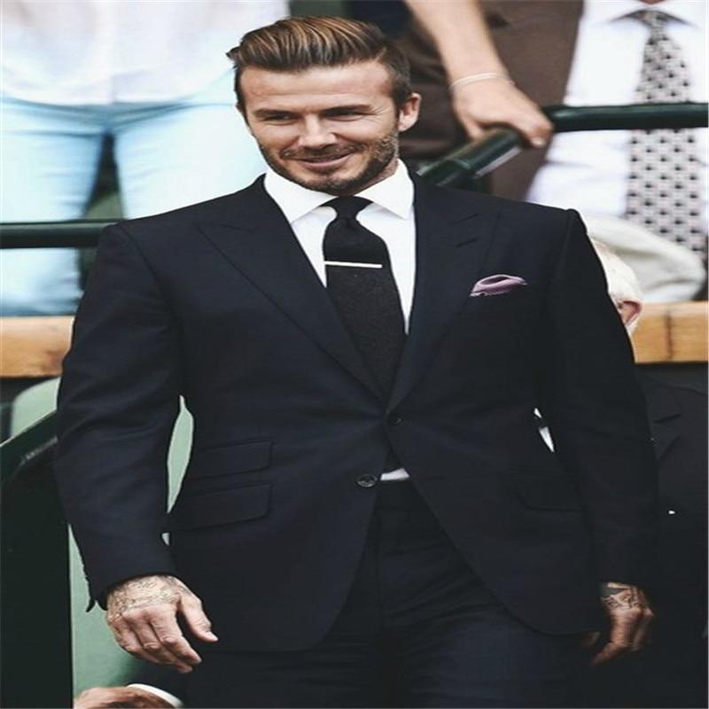 2020 New Men's Suit Style 2 Buttons Peak Lapel Black Wedding Groom Tuxedos For Men Groomsman Best Man Suit Jacket+Pants+Tie