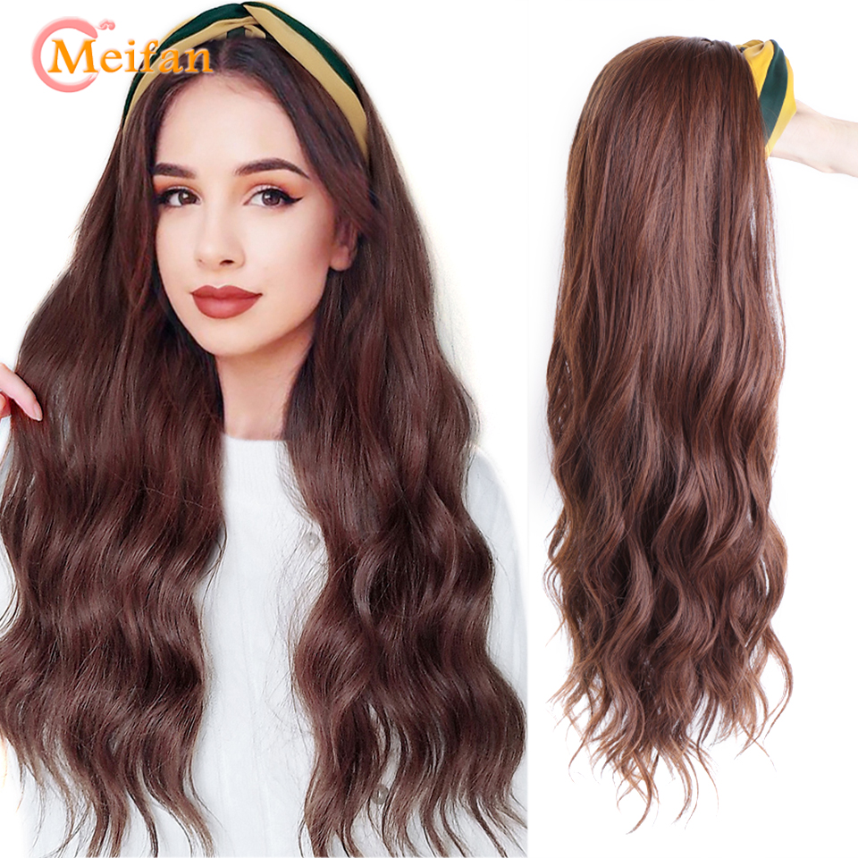 MEIFAN Synthetic Half Head Wigs with Hair Band Long Wavy Culry U-Part Headband Natural Fake Hair Pieces Invisible Seamless Wigs