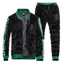 Outwear Tracksuit-Track-Suit Velour Velvet Men's Outfits Trousers-Sets Coat-Pants Jacket