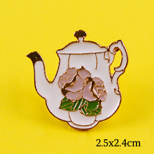 Chinese Style Teapot Badge Kawaii Pins Lovely Rose Flower on Enamel Cartoon Animal Brooches Lapel Accessories