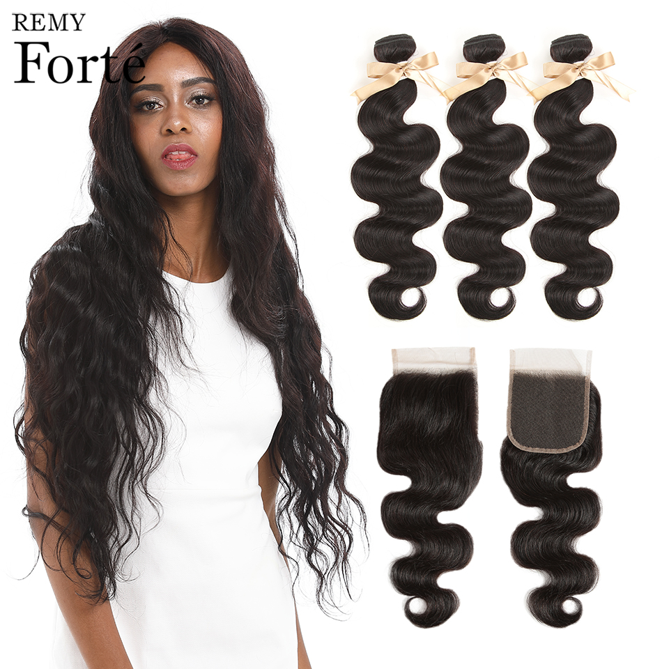 Remy Forte USA Body Wave Bundles With Closure 30 Inch Bundles With Closure Brazilian Hair Weave Bundles 3/4 Bundles With Closure