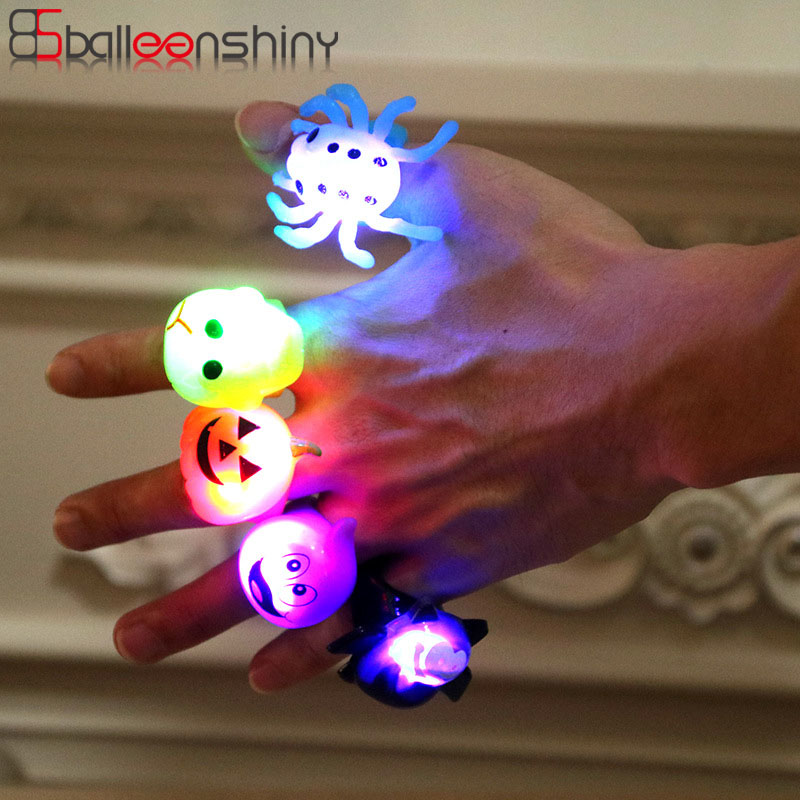 Balleenshiny 2019 New Halloween Gift Party Finger Lights Glowing Toys Children's Gifts Pumpkin Bat Ring Baby Kids Funny Toys