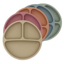 Безопасная силиконовая обеденная тарелка для малышей, однотонная Милая мультяшная детская посуда на присоске, тренировочная посуда для ма...
