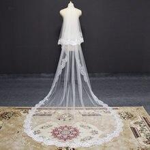 Real fotos 2 t longo laço véu de casamento com blusher catedral véu de noiva com pente 3 metros 2 camadas branco marfim macio tule véu
