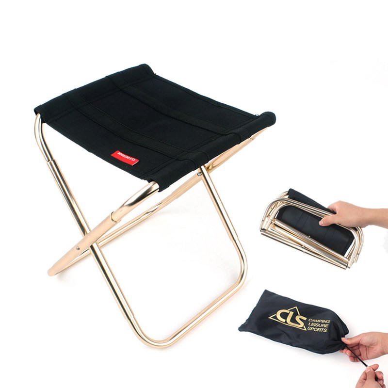 Outdoor Folding Stool Black Extra Large 7075 Aluminum Alloy Fishing Camping Chair Barbecue Treasure