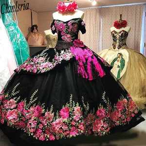 Image 5 - Printed Floral Lace Black Sweet 16 Dresses Off Shoulder Short Sleeves Sashes Open Back Quinceanera Dress Ball Gowns Prom Fashion
