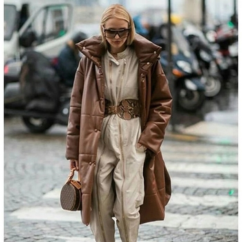2020 winter Casual Khaki Windproof Parkas Women Fashion Winter PU Leather Coats Women Elegant Long Cotton Jackets Female Ladies 2020 pu leather parkas women fashion hooded faux leather coats women elegant zipper cotton jackets female ladies clothing c20