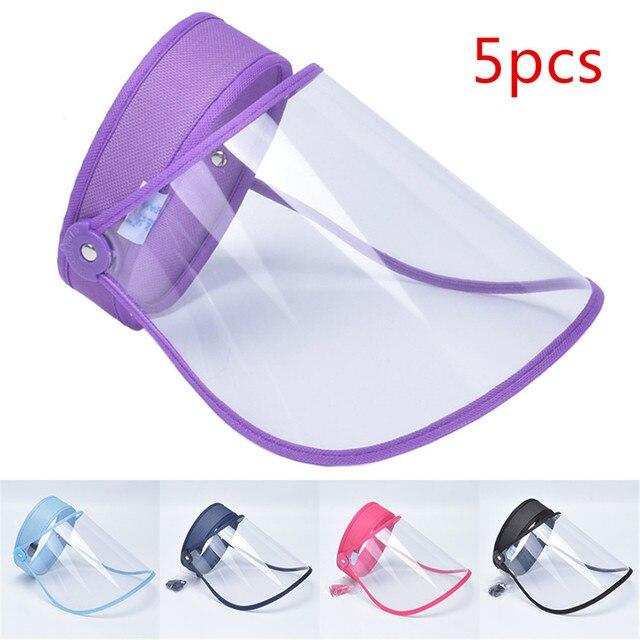 5Pcs Adjustable Transparent Protective Cap Anti-Saliva Splash Mouth Mask Anti-droplet Full Face Mask Windproof Sun Visor Shield