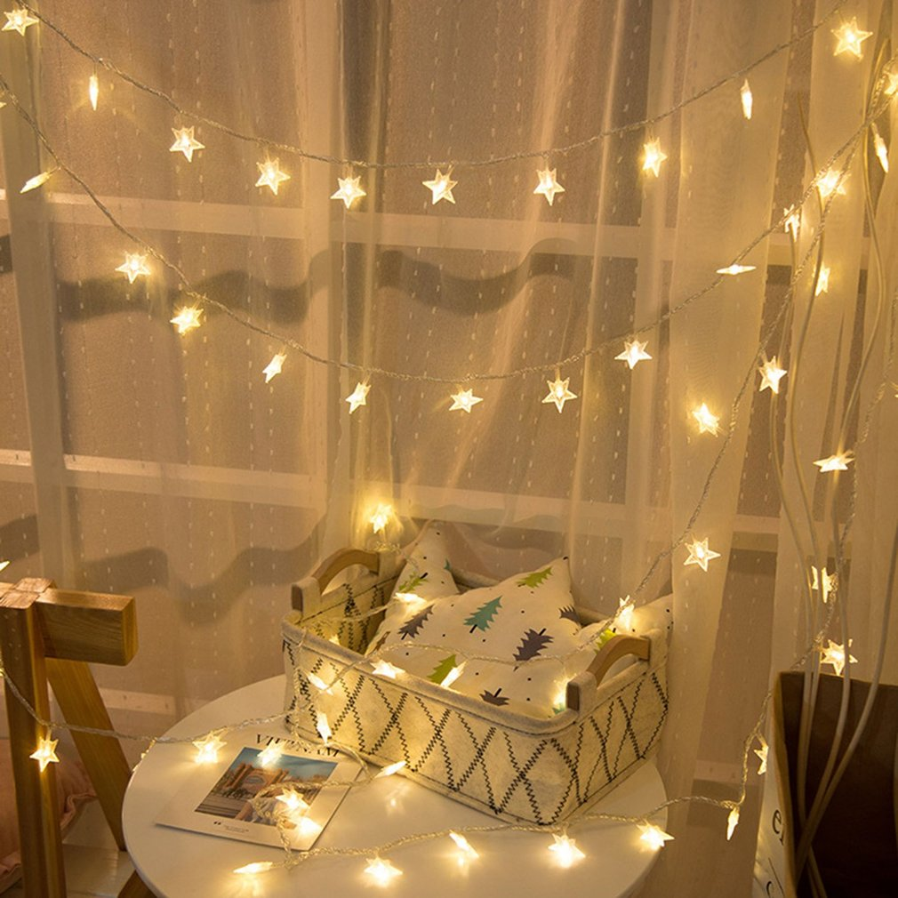 Romantic Stars LED Fairy String Decorative Lights Snowflake Tree Wedding Christmas Outdoor Garland Home Decoration