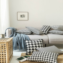 Classic Simple Houndstooth Pillow Cover Morden White And Black Stripe Throw Case Home Decoration For Living Room 3 Size