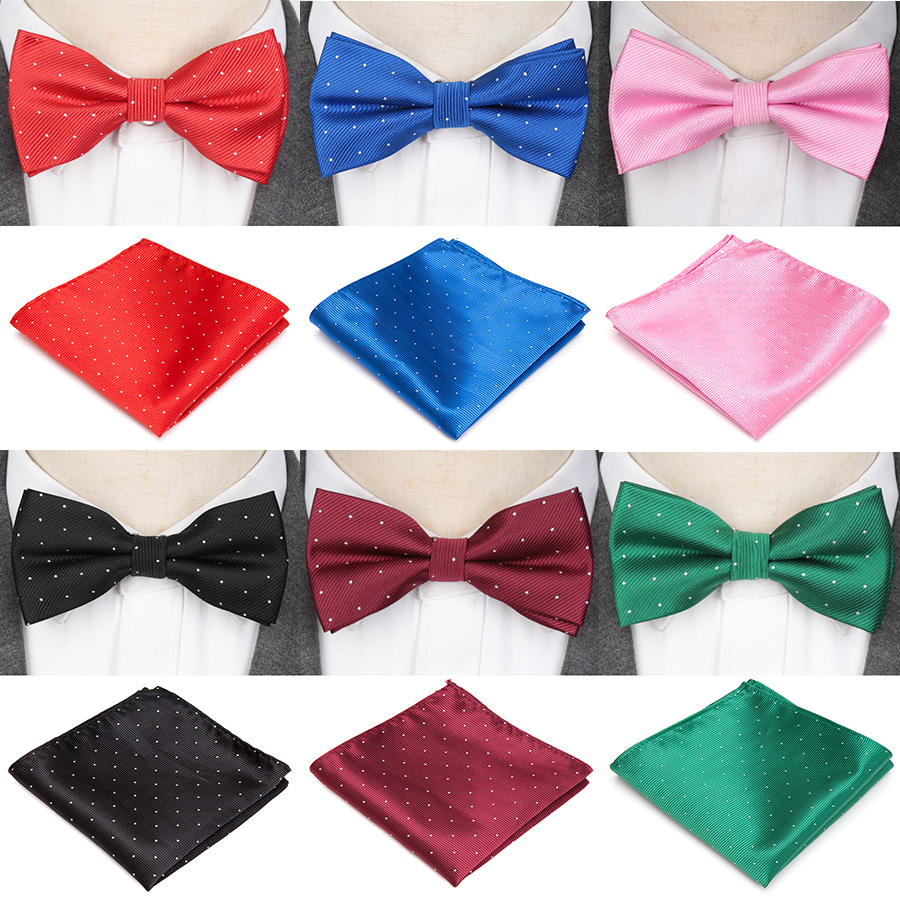 Mens Tie Bowtie Handkerchief Set Fashion Butterfly Party Wedding Bow Gifts For Men Candy Solid Color Bowknot Accessories Bowtie