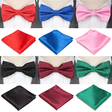 Mens Tie Bowtie Bowknot-Accessories Wedding-Bow Butterfly Handkerchief-Set Gifts Solid-Color