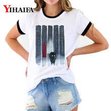 T Shirts Women Graphic Tees Fashion Mist Forest Wolf 3D T-shirt Summer Animal Printed Casual Couple Short Sleeve Tops 2019 wolf printed 3d t shirts men t shirts new design tops tees men women short sleeve shirt summer harajuku wolf animal xxxxl
