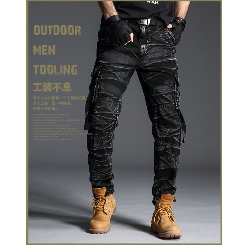 Tactical Camo Cargo Pants Men Army Military SWAT Pants Combat Paintball Male Casual Many Pockets Work Black Cargo Trousers 7980
