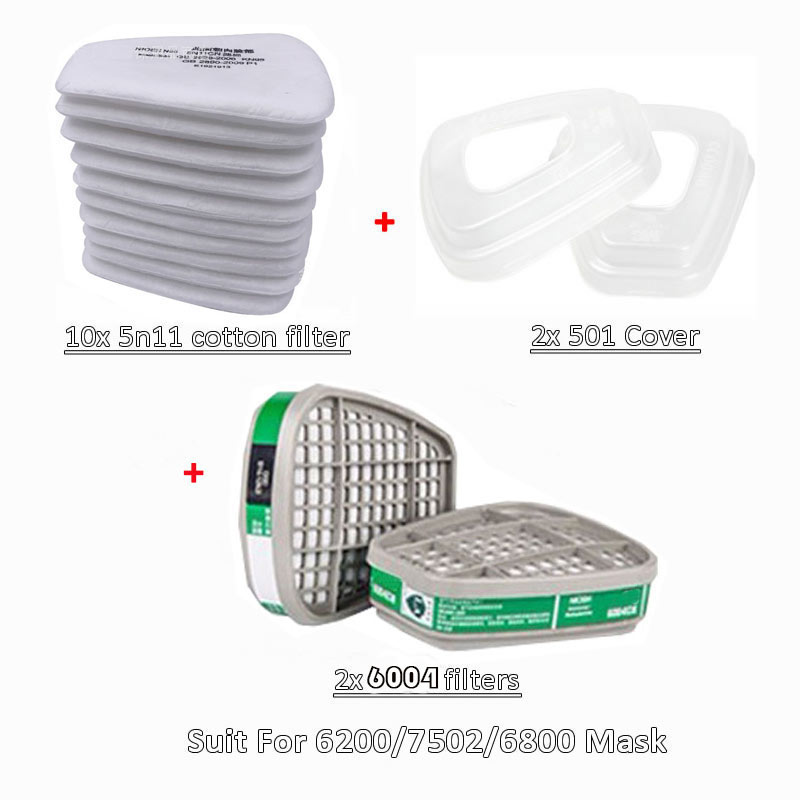 6001/6002/6004 Cartridge box 5N11 Cotton Filters Set For 3m 6200/7502/6800 Dust Gas Masks Chemical Painting Spraying Respirator
