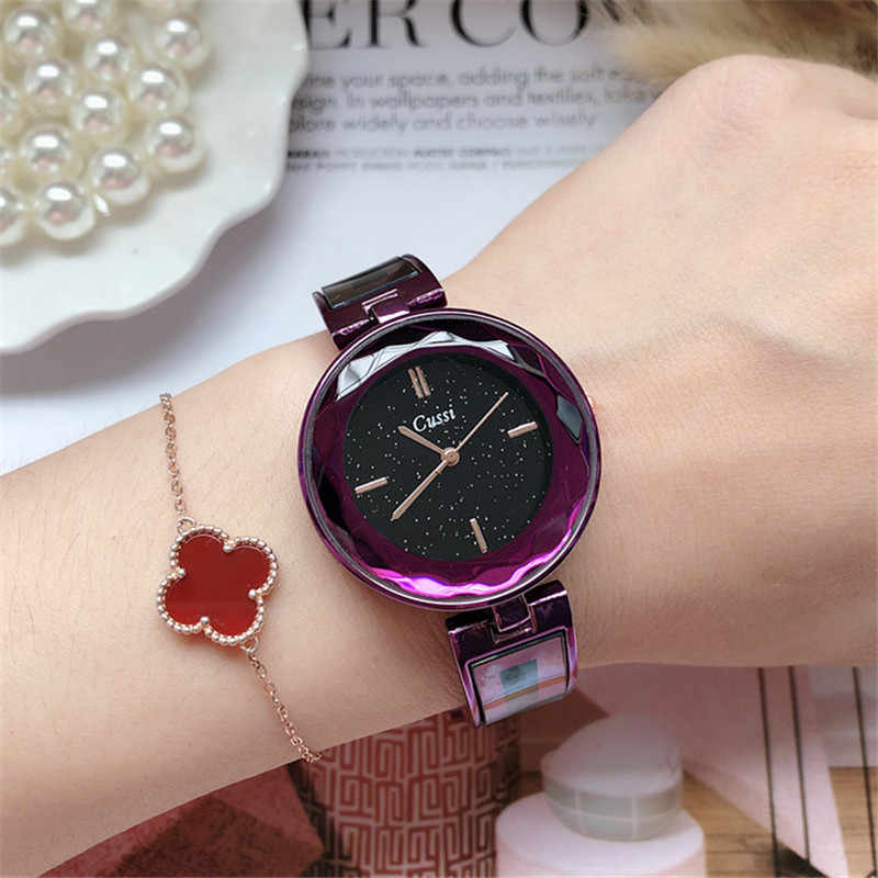 Cussi reloj de pulsera de oro para mujer, de marca superior, reloj de vestir de lujo para mujer, reloj de pulsera de cuarzo de cielo estrellado, reloj femenino