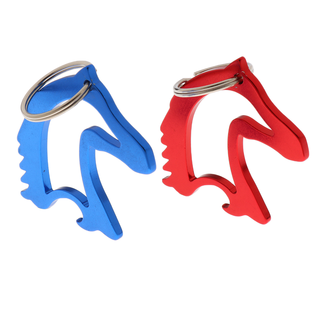 Portable Aluminum Alloy Horse Head Pattern Bottle Opener With Key Ring Keychain