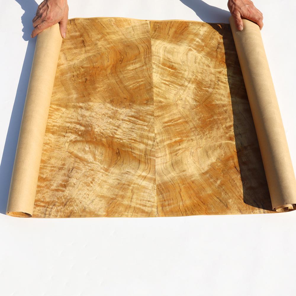 Natural Genuine Phoebe Zhennan S. Lee Fig Figuared Wood Veneer Furniture Decorative Veneer Backing With Paper Ribbon Stripe