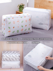 PEVA transparent printed quilt travel storage bag home storage box clothes no foreign smell washable Breathable waterproof