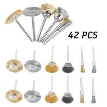 42pcs Metal Copper Wire Wheel T-type Polishing Brush Set Mold Grinder Engraving Machine Rotary Power Tool