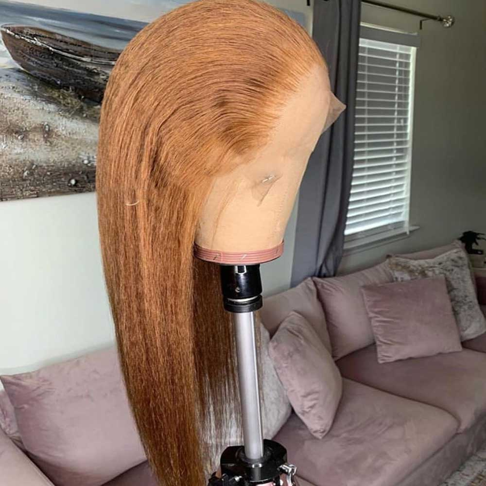 Ginger Oranger Kinky Straight 13x6 Lace Front Human Hair Wig Pre Plucked Brazilian Remy HD Transparent Invisible Lace Wig Atina