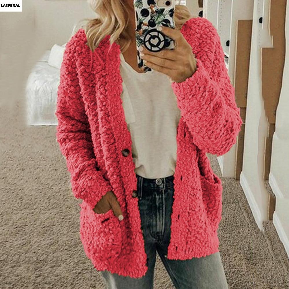 CALOFE Fashion Cardigan For Women Casual Long Sleeve Button Solid Pocket Cardigan Tops Blouse Coat Warm Cardigan Tor Women